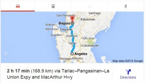 Angeles to Baguio Travel Time Google Car