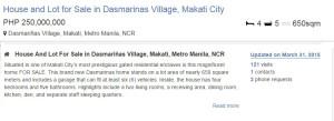 Dasmarinas Village, Makati 250,000,000, 650sqm