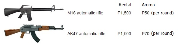 M16 and AK47 hire