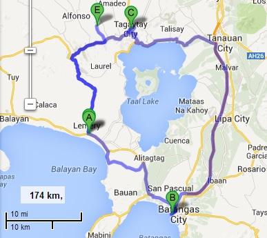 Map Batangas Tagaytay Batangas