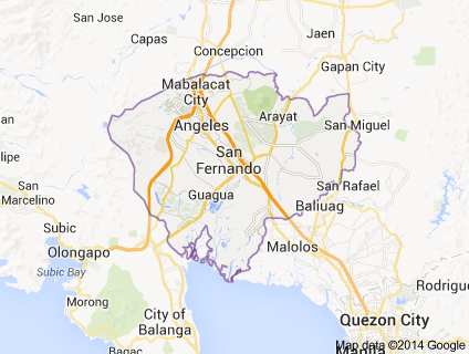 Map Pampanga province, Luzon