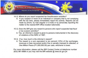 Philippines Tax Evasion and Rewards