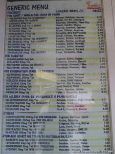 Generics Pharmacy Puerto Galera, Price List
